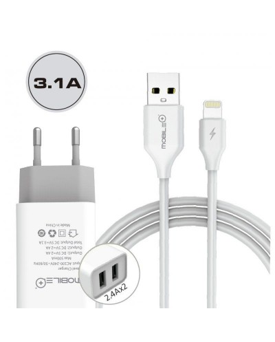 Wall charger with dual USB output & Lightning cable for...
