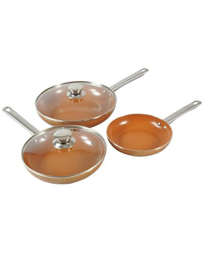 Set of 3 Pans and 2 Glass Lids, 3 + 2, THULOS TH-CFP248