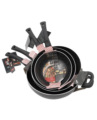 WOK skillet with high quality non-stick 3-layer stone...